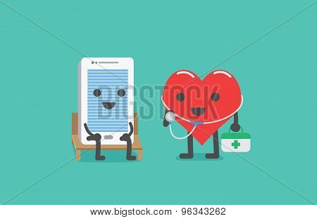 Heart technician checking smartphone