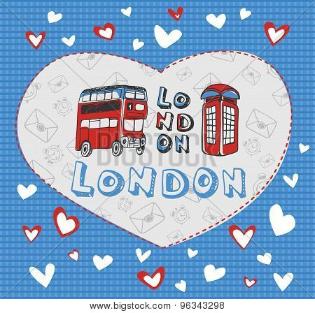 Postcard on the theme of London.