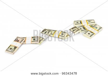 Diagram made of money isolated on white background