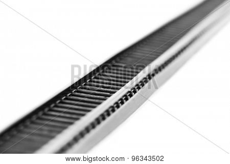 Toy railway rails isolated on white background