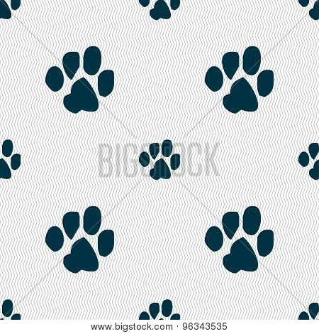 Trace Dogs Icon Sign. Seamless Pattern With Geometric Texture. Vector