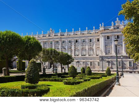 Royal Palace and park at Madrid Spain - architecture background