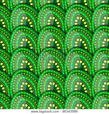 Seamless Pattern Of Green Eggs With Peas