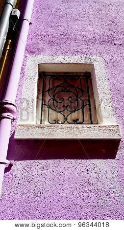 Window Frame In Burano On Purple Color Wall
