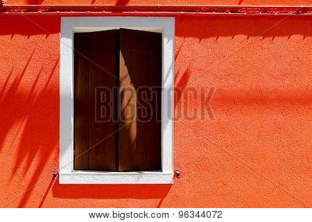 Window House On Orange Color Wall