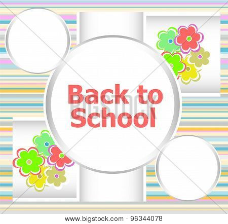 Back To School Invitation Card With Flowers, Education Concept