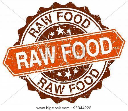 Raw Food Orange Round Grunge Stamp On White