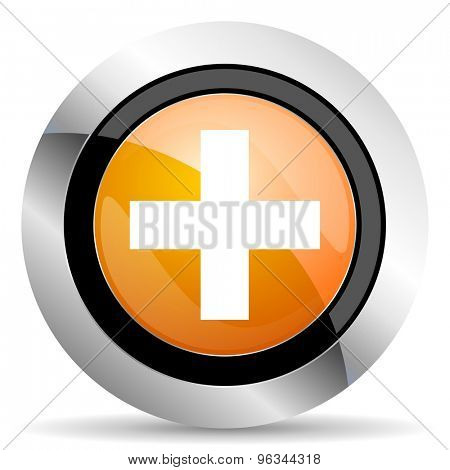 plus orange icon cross sign