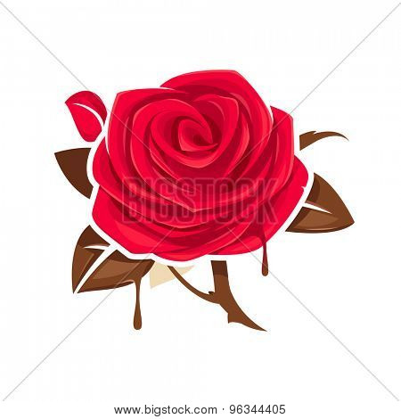 Red rose with chocolate leaves