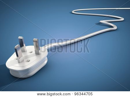 Electrical Plug And Cable Lies Unplugged Isolates On Blue Background