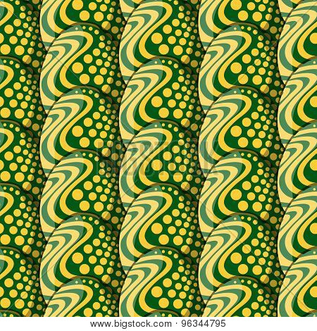 Seamless Pattern Of Eggs With Circles And Waves