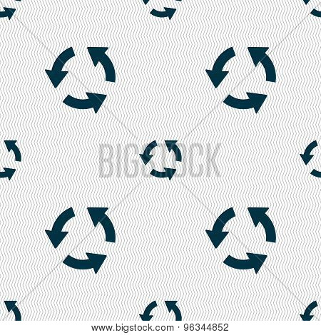 Refresh Icon Sign. Seamless Pattern With Geometric Texture. Vector