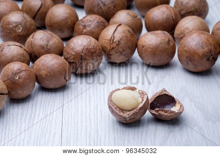 Macadamia On White Wooden Table