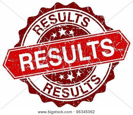 Results Red Round Grunge Stamp On White