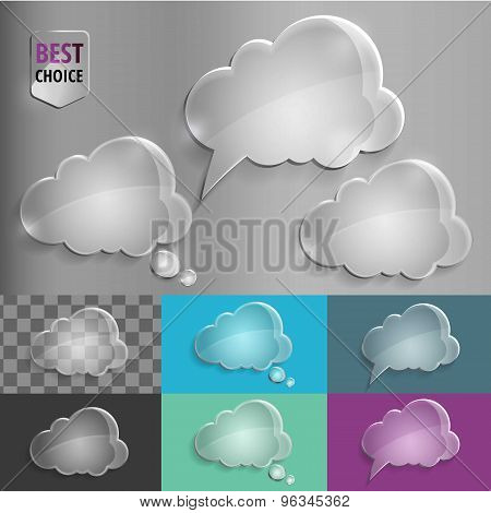 Set of glass speech bubble cloud icons with shadow on gradient background . Vector illustration EPS