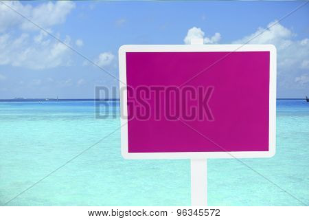 Wooden sign board on sea background