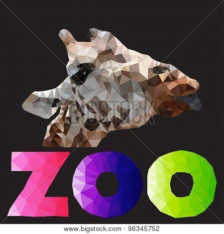 polygonal illustration of giraffe head