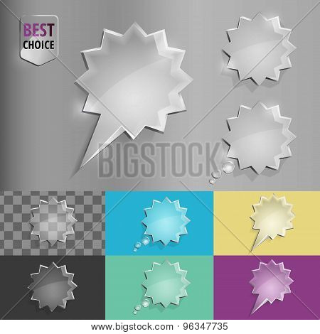 Set of glass speech bubble starburst icons with soft shadow on gradient background . Vector illustra