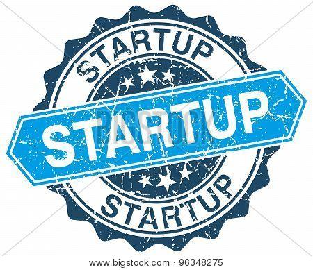 Startup Blue Round Grunge Stamp On White