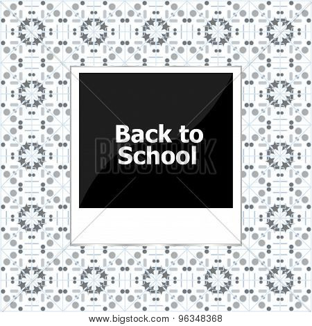 photo frame with words back to school, education