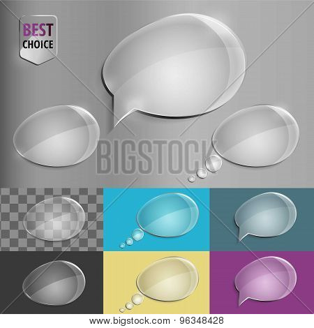 Set of glass speech bubble icons with soft shadow on gradient background . Vector illustration EPS 1