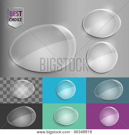 Set of glass speech shape icons with soft shadow on gradient background . Vector illustration EPS 10
