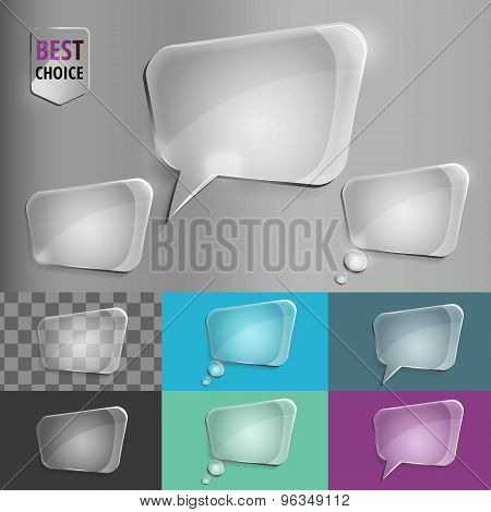 Rectangle glass speech bubble icons with soft shadow on gradient background . Vector illustration EP