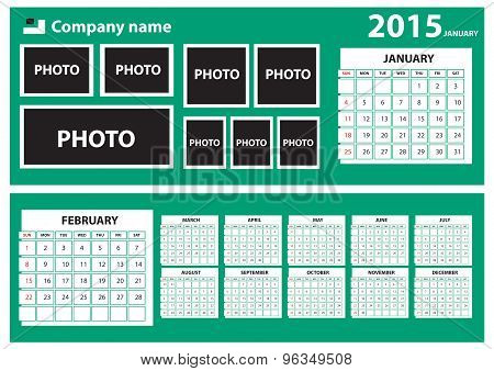 2015 Calendar with green background.