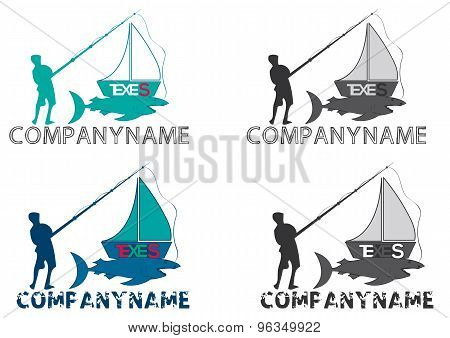 Fishing boat logo, vector file easy to edit.