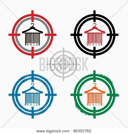 Sale Barcode Clothes Hanger On Target Icons Background