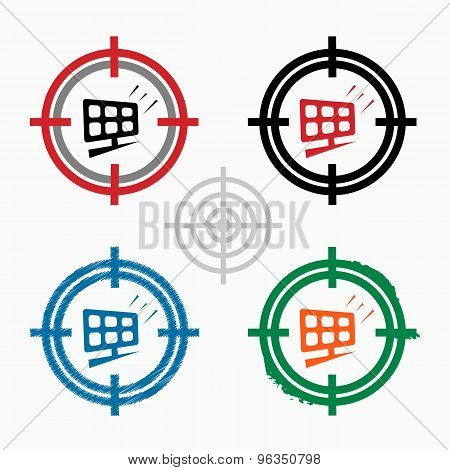 Solar Panel On Target Icons Background