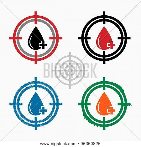 Blood  Icon On Target Icons Background