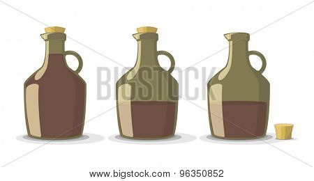 Vector set of full and empty wine bottles in vintage style, isolated on white background