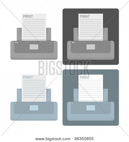 Vector set of simple printer icons in blue and gray colors