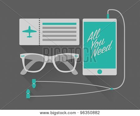 Vector vacation set of mobile phone with headphones, sunglasses, and airplane ticket in hipster style