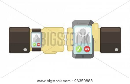 Vector smart watch and smartphone synchronization concept