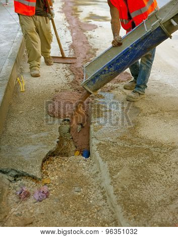 fiber optic cables buried in a micro trench with concrete