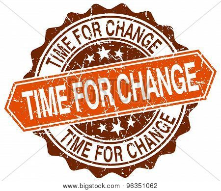 Time For Change Orange Round Grunge Stamp On White