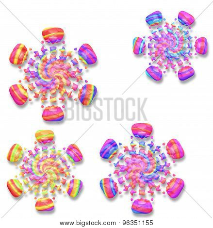 Rainbow Colored Snowflakes With Drop Shadow On White
