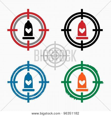 Condom  Icon On Target Icons Background
