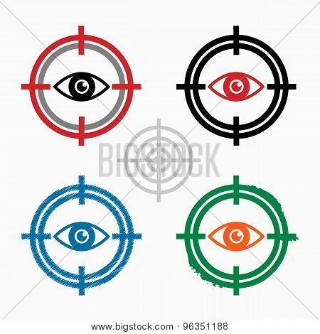 Eye  Icon On Target Icons Background