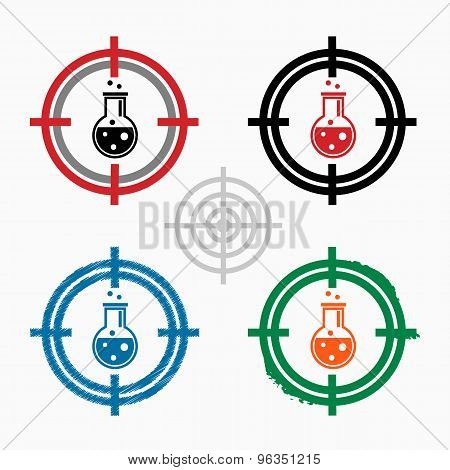 Glass Bulb Icon On Target Icons Background