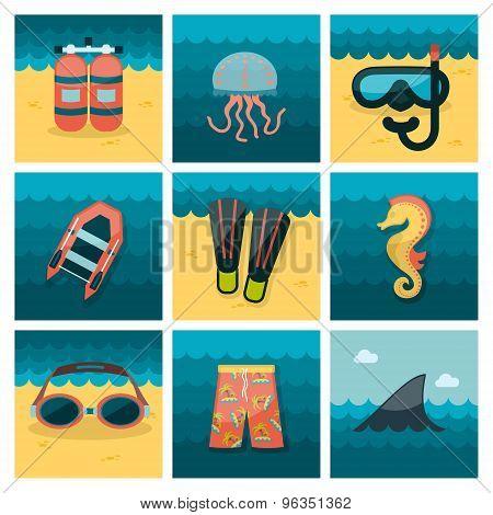 Summer flat icons set