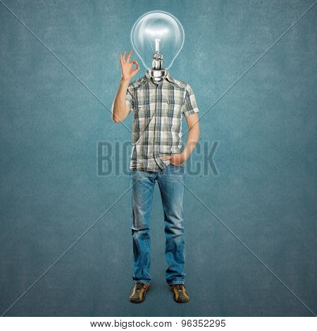 lamp head man shows OK against different backgrounds