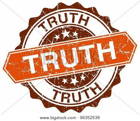 Truth Orange Round Grunge Stamp On White