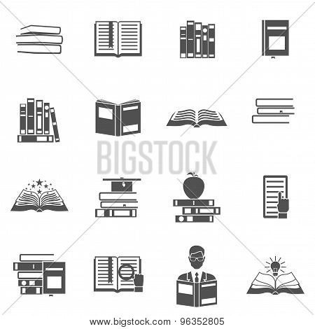 Books Flat Silhouette Icon Set