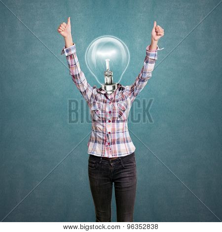 Winning concept. Lamp head girl shows well done with both hands
