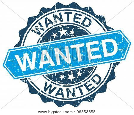 Wanted Blue Round Grunge Stamp On White