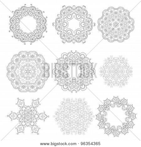 Set Of Ornaments Black White Cards With Mandalas.