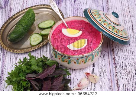 Beetroot Soup - Cold Soup With A Beet And Egg Submitted With Greens And Garlic